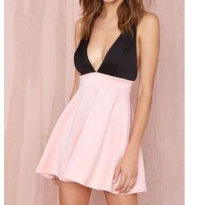 Nasty Gal black and pink criss cross dress